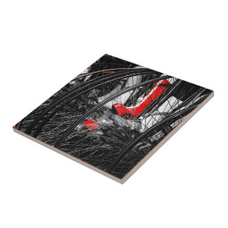Red Boot in Penny Farthing Stack Ceramic Tile