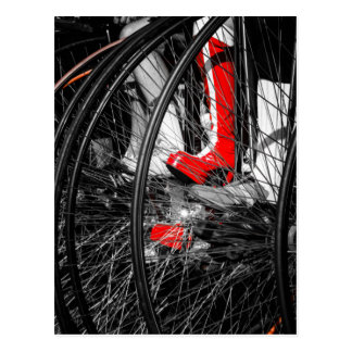 Red Boot in Penny Farthing Stack Postcard