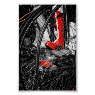 Red Boot in Penny Farthing Stack Poster