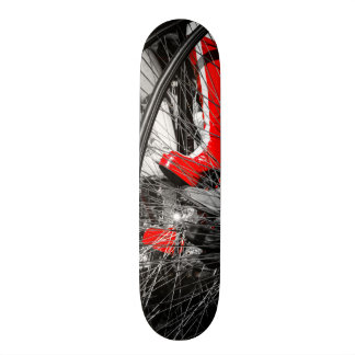 Red Boot in Penny Farthing Stack Skateboard Deck
