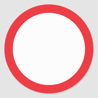 Red border blank classic round sticker