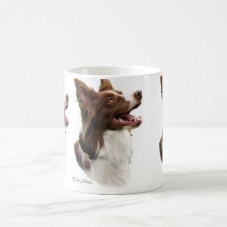 Red Border Collie head design mug