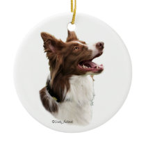 Red Border Collie Head Ornament