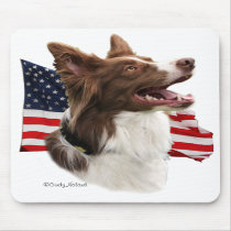 Red Border Collie head with flag mousepad