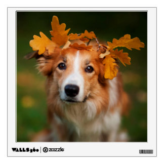 Red Border Collie With a Garland of Autumn Leaves Wall Decal
