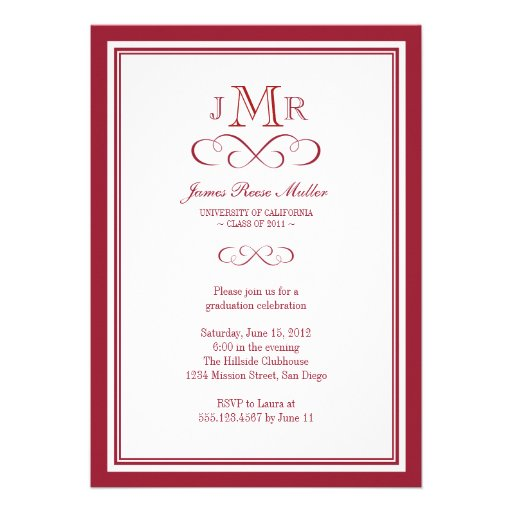 Red border frame classy monogram graduation invitations