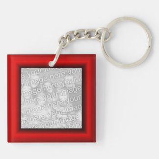 Red Border Square Acrylic Key Chains