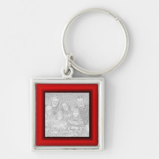 Red Border Silver-Colored Square Keychain