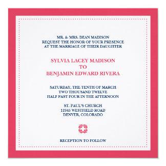 Red border square traditional wedding invitation