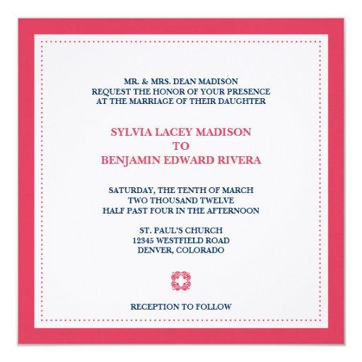 """Red border square traditional wedding invitation 5.25"""" square invitation card"""