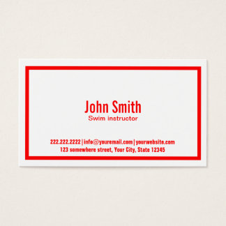 Red Border Swim Instructor Business Card