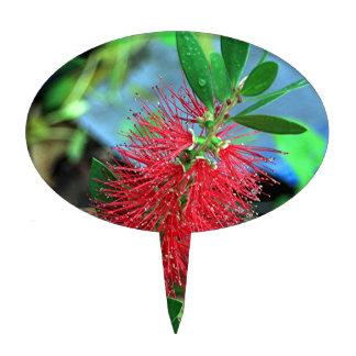 Red Bottlebrush flower Cake Topper