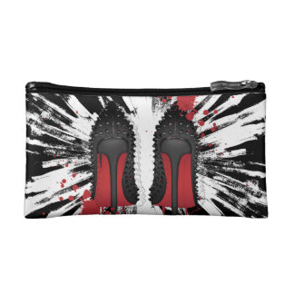 Red bottoms heels shoes with CRAZY background Makeup Bags