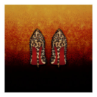 RED BOTTOMS shoes high heels in LEOPARD Poster