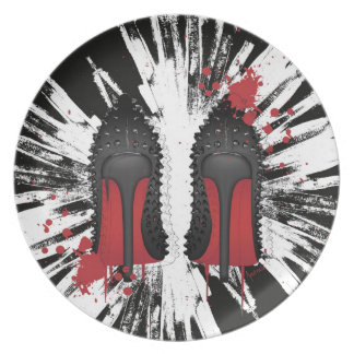Red Bottoms Stilettos shoes heels spatters & drips Melamine Plate