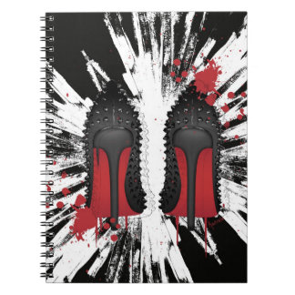 Red Bottoms Stilettos shoes heels spatters & drips Notebook