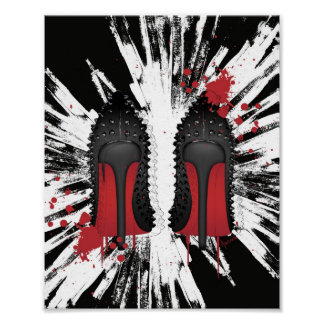 Red Bottoms Stilettos shoes heels spatters & drips Print
