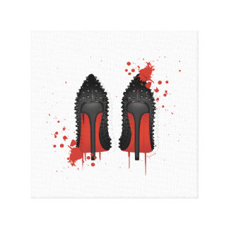 Red bottoms stilettos shoes high heels & spatters canvas print