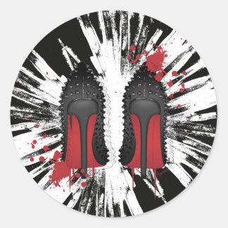 Red bottoms stilettos shoes high heels & spatters classic round sticker