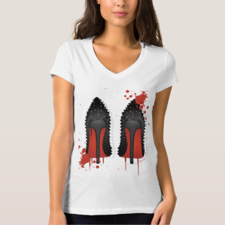 Red bottoms stilettos shoes high heels & spatters T-Shirt