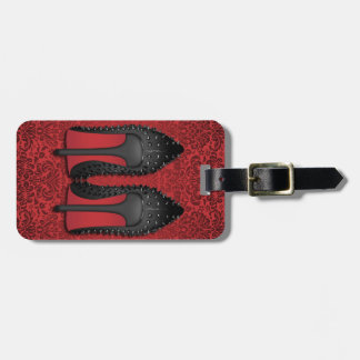 Red Bottoms stilettos shoes in RED DAMASK Bag Tag