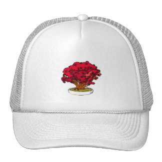 Red bougie type clump bonsai graphic mesh hats