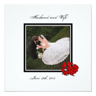 Red Bouquet Wedding Photo Thank You Card