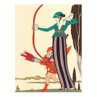 Red Bow Amusement by George Barbier Postcard