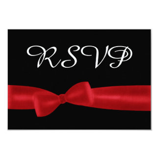 Red Bow and Black RSVP Wedding Response Card