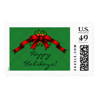 Red Bow and Holly Swag Custom Holiday Postage