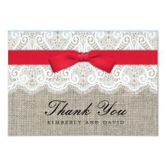 Red Bow and Lace Wedding Thank You Card