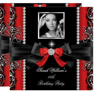 Red Bow Birthday Party Black Silver Photo Card