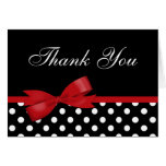 Red Bow Black Polka Dots Thank You Greeting Card