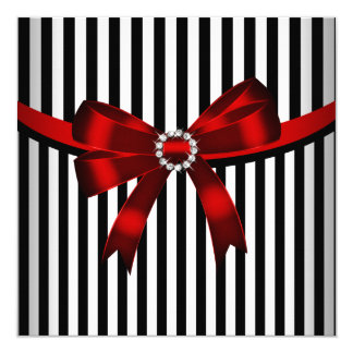 Red Bow Black White Stripe Birthday Party (3) Card