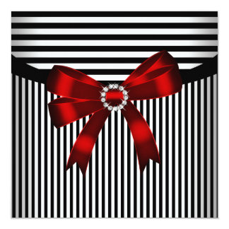 Red Bow Black White Stripe Birthday Party Card