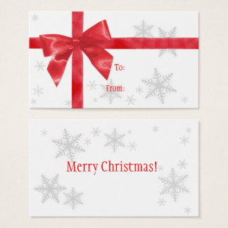 Red Bow Christmas Gift Tag