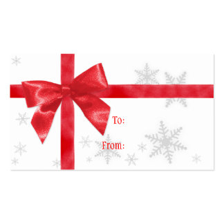 Red Bow Christmas Gift Tag Double-Sided Standard Business Cards (Pack Of 100)
