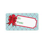 Red Bow Christmas Gift Tag Labels