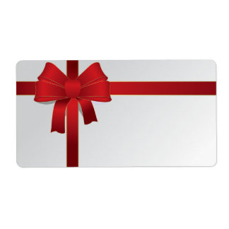 Red Bow Christmas Holiday Label