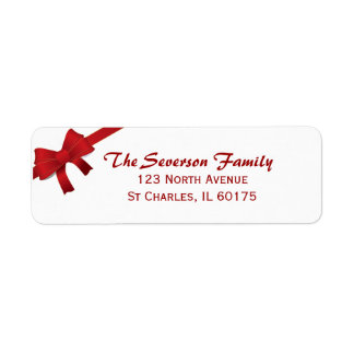 Red Bow Christmas Holiday Return Address Label