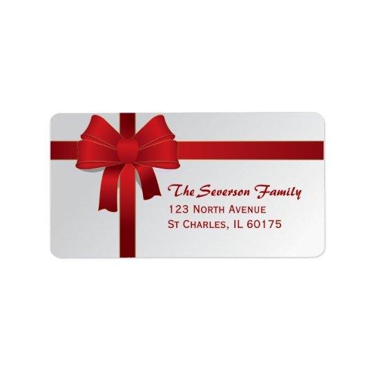 red bow christmas holiday return address label. Black Bedroom Furniture Sets. Home Design Ideas