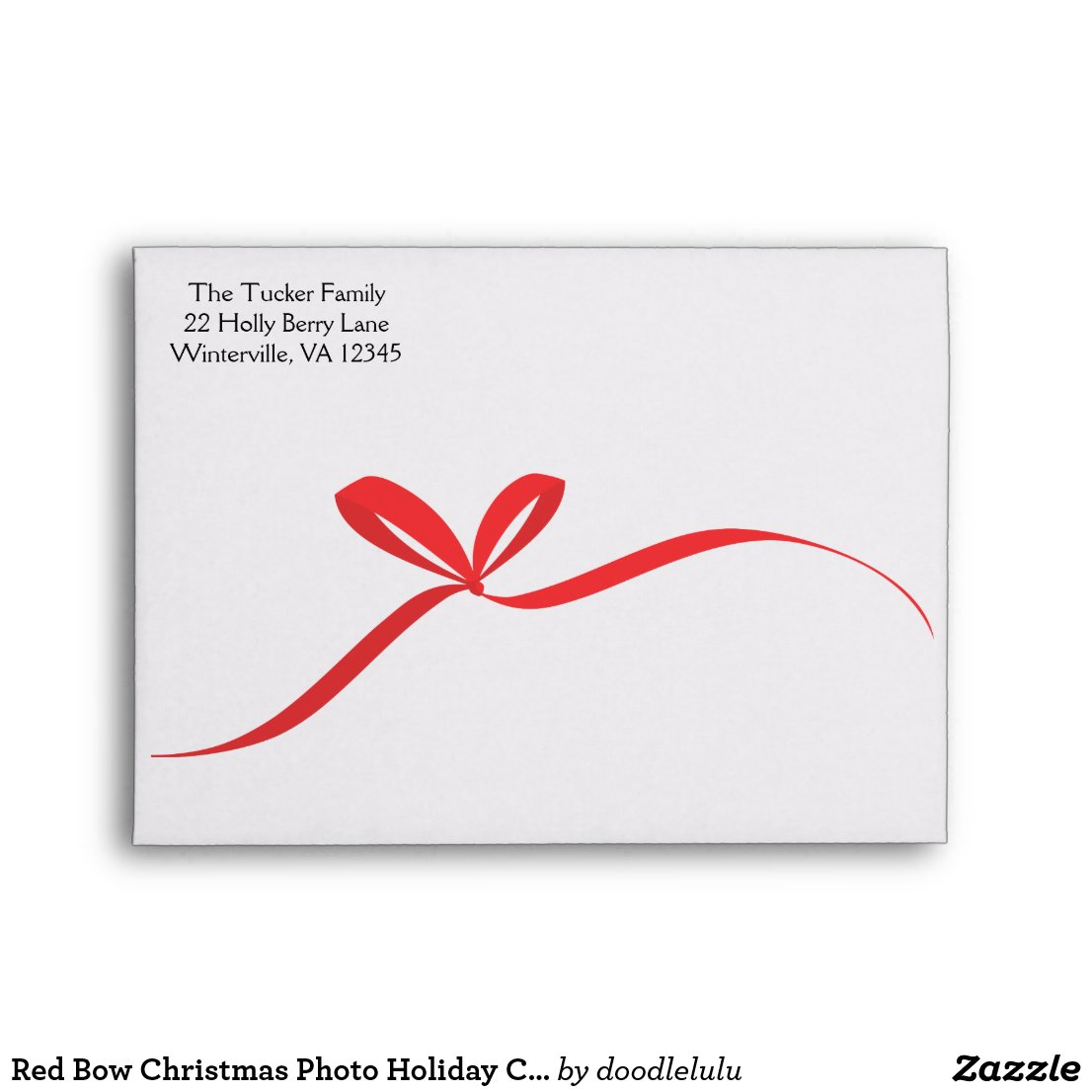 Red Bow Christmas Photo Holiday Card Envelope