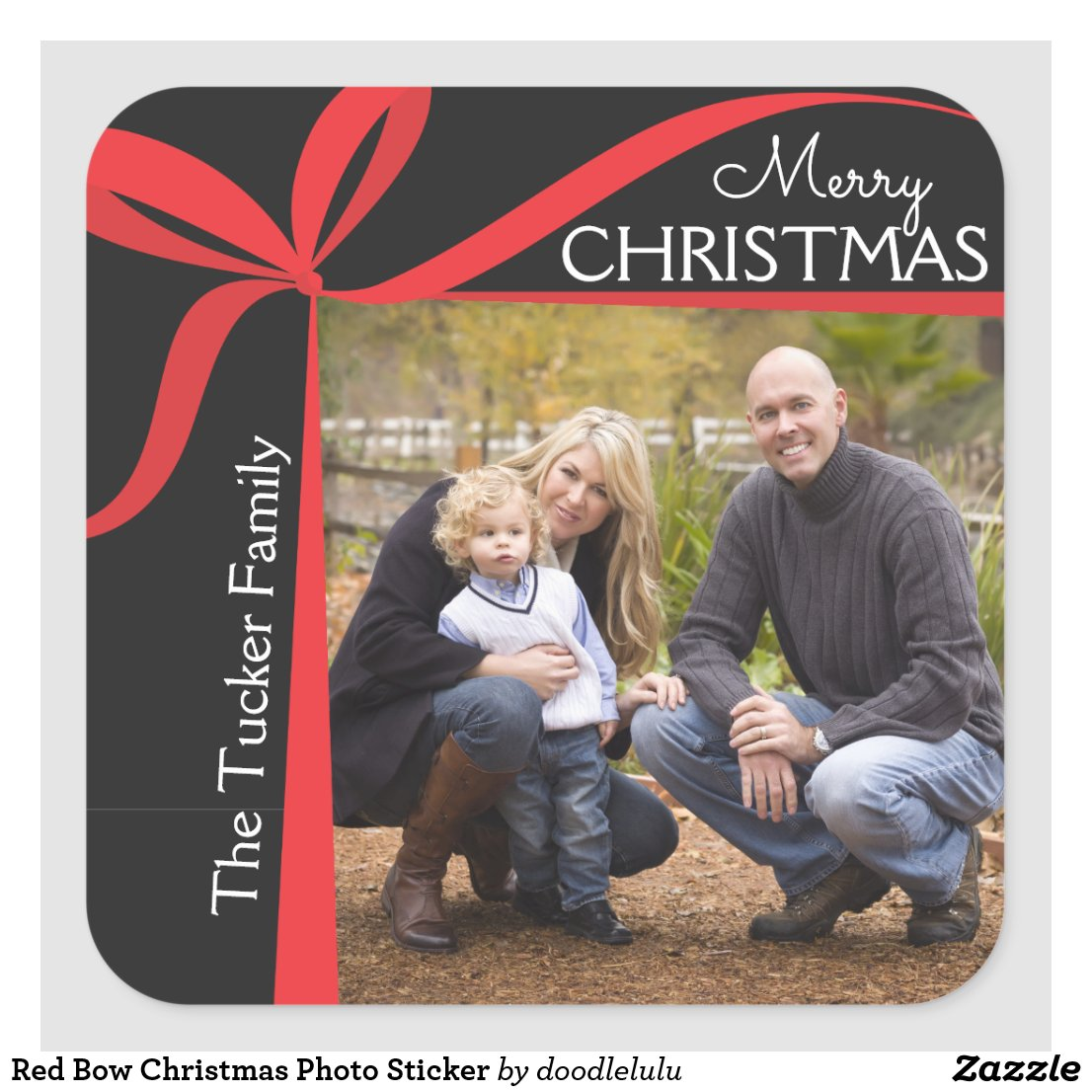 Red Bow Christmas Photo Sticker