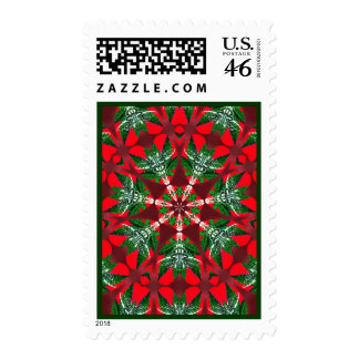 Red Bow Christmas Wreath Postage Stamps