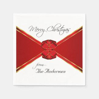 Red Bow Custom Christmas Party Napkin