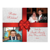 Red Bow Custom Photo Holiday Postcard