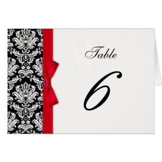 Red Bow Damask Table Number Greeting Cards