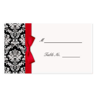 Red Bow Damask Wedding Placecards Double-Sided Standard Business Cards (Pack Of 100)