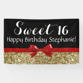 Red Bow Gold Glitter Sweet 16 Birthday Party Banner