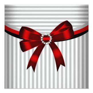 Red Bow Gray Black White Stripe Birthday Party Custom Announcements